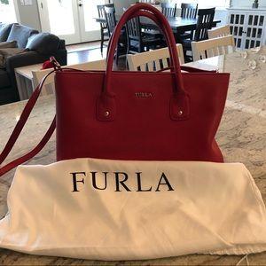 Furla Red Saffiano Leather Handbag: Excellent Cond
